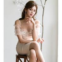 フリル ワンピース ドレス お呼ばれ パーティー 結婚式 2次会 デート 膝丈 ベージュ S〜XLサイズ 送料無料