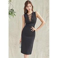 お呼ばれ ワンピース ドレス ノースリーブ 膝丈 ブラック S、M、L、XLサイズ 送料無料