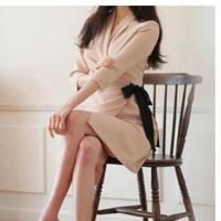 上品 シック ワンピース 秋 冬 リボン Vネック 七分袖 ピンク S〜XLサイズ 送料無料