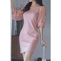 ピンク お呼ばれ ドレス ワンピース 七分袖 ミニ パーティー 結婚式 二次会 お出かけ ピンク S〜XLサイズ 送料無料