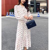 花柄 シフォン ワンピース 春 秋 リボン フリル 長袖 ロング ホワイト S〜XLサイズ 送料無料