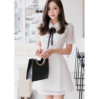 リボン 襟付き ミニ丈 ワンピース ホワイト ブラック S、M、L、XLサイズ 送料無料