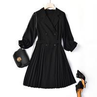 上品 シフォン ワンピース 秋 冬 バックリボン プリーツスカート Aライン ブラック M〜XLサイズ 送料無料