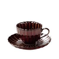 3-954 ぎやまん陶 珈琲碗皿 漆ブラウン