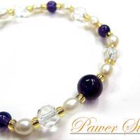 天然石 パワーストーン レディース ブレスレット 天然水晶×淡水パール×紫水晶(1)