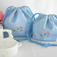手刺繍 通園おべんとう袋とコップ袋セット ブルー
