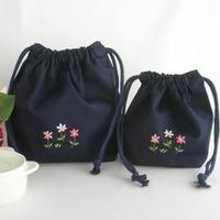 手刺繍 通園おべんとう袋とコップ袋セット 紺色