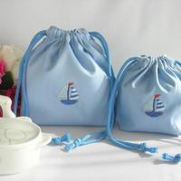 手刺繍 通園【男の子用】おべんとう袋とコップ袋セット ブルー