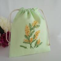 手刺繍巾着 ミモザの庭 イングリッシュガーデン