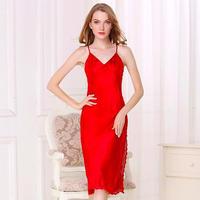 (MAYUDAMAシルク)シルク100% シルク ロングスリップ 刺繍レース Vネック ネグリジェ ハーネス ドレス ナイトドレス セクシー 優雅 エレガント <レッド>