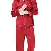 (MAYUDAMAシルク)シルク100% ピュアシルク 男性 メンズ 紳士 パジャマ 長袖 トラックスーツ ルームウェア 部屋着 上着 パンツ 2ピースセット <レッド>