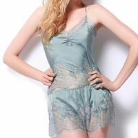 Sangluo ピュアシルク セクシー ラグジュアリー フレンチロマンチック シルクジョーゼットサテンレース キャミソール ショートパンツ パジャマ <エメラルド>