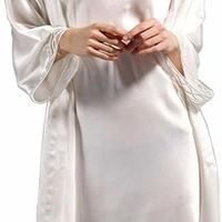 (MAYUDAMAシルク) シルク ガウン ローブ スリップ 2ピース セット 絹100% 胸元チュール レース インナー キャミソール バスローブ レディース シンプル ベーシック <ホワイト>