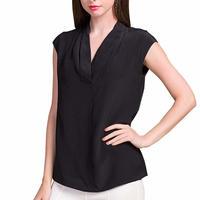 (MAYUDAMAシルク) シルク100% シルクシャツ ブラウス Vネック ノースリーブ シルクシフォン ゆったり エレガント 通勤 春・夏  <ブラック>