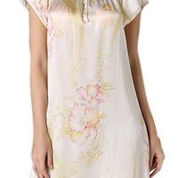 (MAYUDAMAシルク)シルク100% シルクパジャマ ルームワンピース ネグリジェ ラウンドネック 半袖 優雅 ゆったりデザイン エレガント 花模様