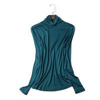 (MAYUDAMAシルク)ピュアシルク100% タートルネック ハイネック シャツ 長袖 Tシャツ シンプル エレガント レディース 選べるサイズ・カラー <グリーン>