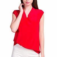 (MAYUDAMAシルク) シルク100% シルクシャツ ブラウス Vネック ノースリーブ シルクシフォン ゆったり エレガント 通勤 春・夏  <レッド>