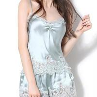Sangluo ピュアシルク セクシー ラグジュアリー フレンチロマンチック シルクジョーゼットサテンレース キャミソール ショートパンツ パジャマ <パウダーブルー>