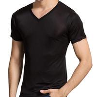(MAYUDAMAシルク)シルク100% シルク tシャツ メンズ Vネック 通気性抜群 絹100% 半袖 無地 天然の抗菌・防臭・吸水速乾 <ブラック>