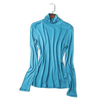 (MAYUDAMAシルク)ピュアシルク100% タートルネック ハイネック シャツ 長袖 Tシャツ シンプル エレガント レディース 選べるサイズ・カラー <レイクブルー>