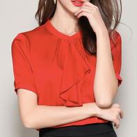 (MAYUDAMAシルク)シルク ブラウス Tシャツ エレガント フラウンス 半袖 大きいサイズ レディース