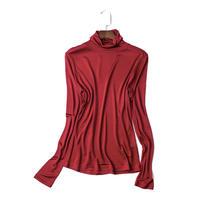 (MAYUDAMAシルク)ピュアシルク100% タートルネック ハイネック シャツ 長袖 Tシャツ シンプル エレガント レディース 選べるサイズ・カラー <ワインレッド>