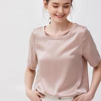 (MAYUDAMAシルク)ピュアシルク100% 厚手 16匁 シルク Tシャツ シルクサテン ラウンドネック ゆったり エレガント 半袖 ホワイト 白 ピンク レディース <ピンク>