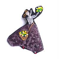 ミモザガール mimosa girl | ビーズブローチ hand made beads brooch