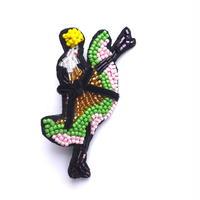 midnight cancan!(ミッドナイト・カンカン) | ビーズブローチ Hand made beads brooch.