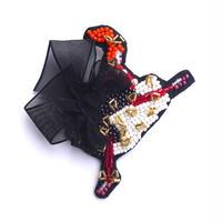 真冬のオレンジヘアーカンカンガール cancan girl  | ビーズブローチ hand made beads brooch