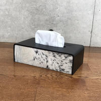 MB7r TISSUE COVER HAIR ON HIDE LEATHER BLACKxWHITE