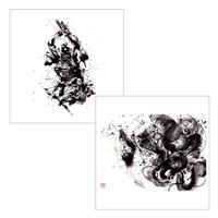 45cm角:【MCB451701】西元 祐貴  「鎧×龍」(メガネ拭き・めがね拭き)
