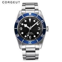 CORGEUT メンズ 自動巻腕時計 41mm ヘリテージブラックベイオマージュロゴなしサファイア風防 イカサブ イカ針