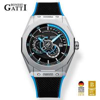 BONEST GATTI メンズ 自動巻腕時計 BG8601 ブラックダイヤル ラバーストラップ 全6カラー