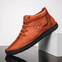 [バブアーに合う靴] メンズ フラットシューズ ウィンター アンクルブーツ ブラウン
