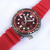 San Martin メンズ 自動巻腕時計 ツナ缶デザイン レッド 48mm サファイア風防 NH35ムーブ
