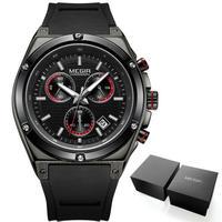 MEGIR メンズクォーツ腕時計 クロノグラフ シリコンストラップ ブラック/シルバー/ローズゴールド