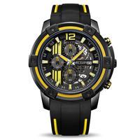 MEGIR バンブルビースタイル クォーツ腕時計 クロノグラフ レーシングウォッチ イエロー/レッド/ホワイト