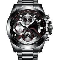 CADISEN C9016 メンズ クォーツ腕時計 42mm ステンレス/レザーバンド