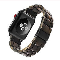 Apple Watch 5 4 3 2 1 木製バンド 38mm/40mm/42mm/44mm ブラック/シルバー
