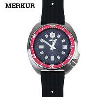 MERKUR メンズ 自動巻腕時計 6105-8110スタイル レッド NH35ムーブ ダイバーズウォッチ
