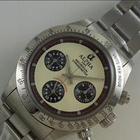 ALPHA アルファ デイトナポールニューマンスタイル アイボリー オマージュウォッチ クロノグラフ 手巻き腕時計