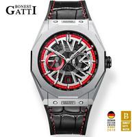 BONEST GATTI メンズ 自動巻腕時計 レザーストラップモデル 全6カラー