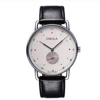 ONOLA メンズ クォーツ腕時計 シンプルデザイン 41mm 薄型 レザー/ナイロンバンド レッド