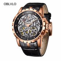 OBLVLO エクスカリバー風 メンズ スケルトン腕時計 自動巻 カラバリ6色