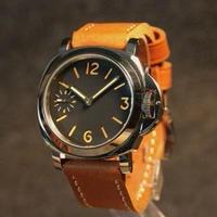 GEERVO メンズ 手巻き腕時計 17石 44mm ブラックダイヤル ロゴなし