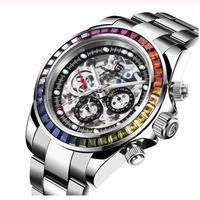 PAGANI DESIGN メンズ 自動巻腕時計 スケルトン レインボーベゼル