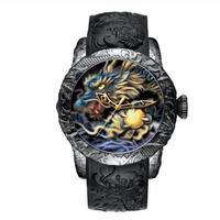 MEGALITH メガリス メンズ クォーツ腕時計 ドラゴン柄 50mm 日本製ムーブ搭載 ブラック/ゴールド