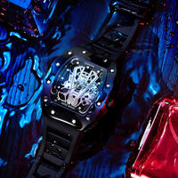 OLMECA メンズ腕時計 クォーツ サファイア風防 シリコンストラップ