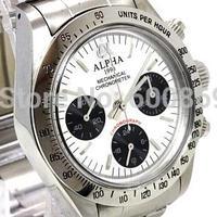 ALPHA アルファ クロノグラフ 手巻き腕時計 デイトナポールニューマンスタイル シルバー  オマージュウォッチ